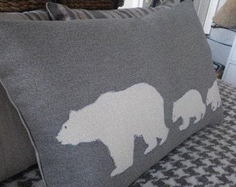 Hand printed  arctic grey polar bear family cushion cover