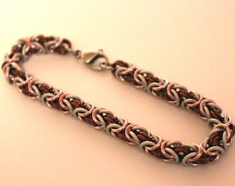 Byzantine Chainmaille Bracelet | Hand Crafted Chainmaille Jewelry | Handmade Bracelet | Pink, Brown, and White | Anodized Aluminum
