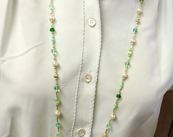 Green, White and Gold Necklace ... Long Necklace
