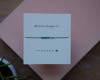 Green onyx reminder bracelet - Olive Green