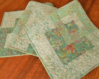 Modern Quilted Batik Table Runner with Flowers in Seafoam Green Pink Yellow and Orange, Bedroom Decor, Tropical Decor, Dining Table Runner
