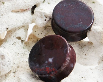 "Pair Chinese Bloodstone Double Flared Stone Plugs 10mm (00g) 12mm (1/2"") 14mm (9/16"") 16mm (5/8"") 22mm ( 7/8"") 25mm (1"") 28mm 32mm 35mm"
