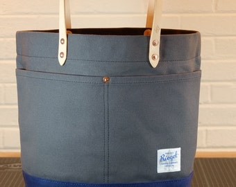 Waxed Canvas Tote Bag with Magnetic Closure/Leather Handles - Large Gray & Navy Color Blocked Tote Perfect for Work, School, or Market