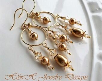 Gold Pearl Chandelier Earrings, Gold Hoop Earrings, Swarovski Crystal Earrings, Champagne Crystal Pearl Earrings, Long Gold Pearl Earrings