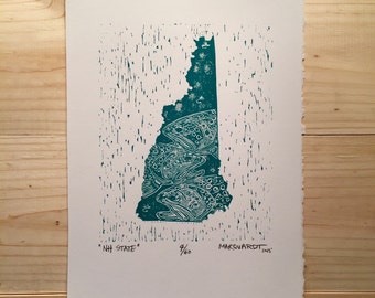 New Hampshire state fly fishing artwork print by Jonathan Marquardt of BadAxeDesign