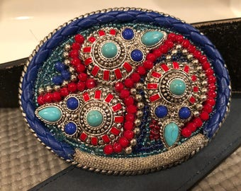 All the Rights Turquoise Belt Buckle One of a kind Rockin Waistwear