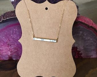 "24k Gold Plated Howlite Bar Reversible Choker Necklace 14"""