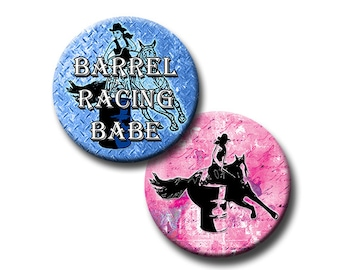 Female Barrel Racing - 1 inch circles - Instant Download