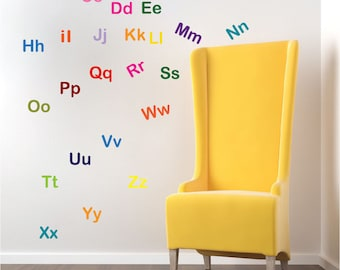 Alphabet Wall Letter Decal Stickers Nursery Mural Letters Kids Alphabet  Bedroom Sticker, Removable Letter Appliques, Adhesive Letters, D10