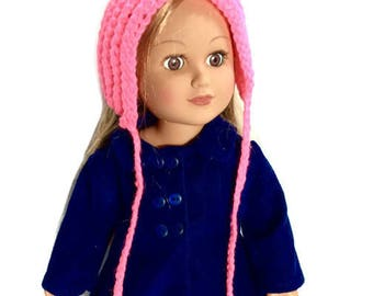 18 Inch Doll Pink Pixie Hat, Crocheted Doll Pixie Hat with Ties, Winter Doll Clothes