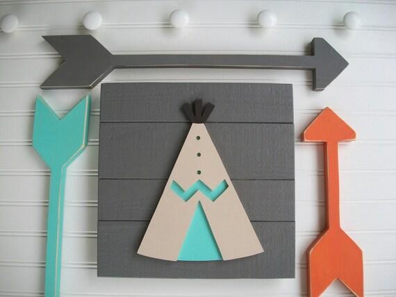 Teepee Sign. Wood Teepee . Teepee Nursery .Tribal Nursery . Teepee . Orange. Grey . Tribal Nursery Art . Woodland Decor