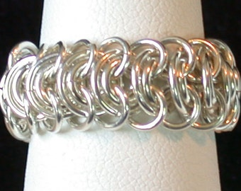 Hand Woven Chain Maille Ring in Argentium Sterling Silver