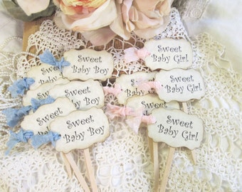 Baby Shower Cupcake Toppers w/ribbons - Sweet Baby Girl or Sweet Baby Boy Party Picks - Set of 18 - gender reveal - its a girl boy rustic