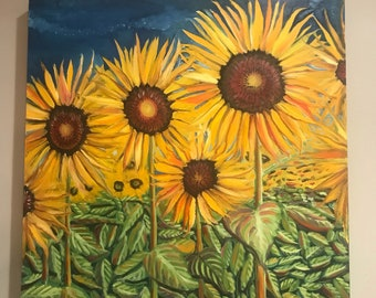 SUNFLOWER PAINTING LARGE, farmhouse decor, sunflower painting, sunflower field, sunflower decor, rustic painting, flowers