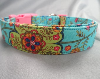 Bright Green Flowers on Blue Dog Collar