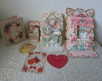 7 Valentines, 3 are FOLD OUT, and RED Doily