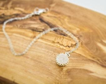 White Druzy Necklace, White Druzy Quartz Necklace, Drusy Necklace, White Drusy, Bridesmaid Necklace, Druzy Bridesmaid,  Drusy Jewelry