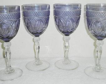 4 Cristal D'Arques Durand Antique Pattern Wine Stem Glasses in Purple Amethyst