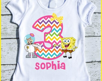 Custom Personalized Super Cute Spongebob and Sandy tee shirt