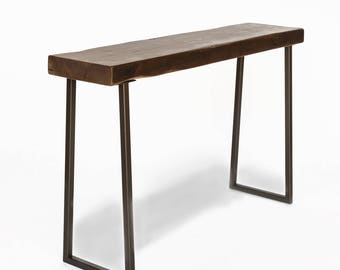 Narrow Console Table Made With Reclaimed Wood And Steel Base. Custom  Height, Wood Thickness