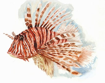A Lion Fish -print from original watercolor painting, Holiday present / birthday present / art collection