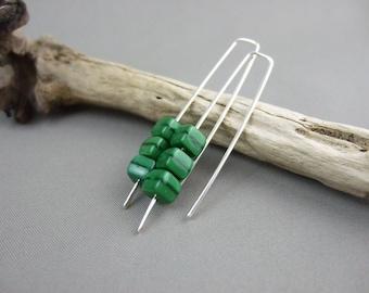 Dark Green Cube Earrings - Forest Green Czech Glass and Sterling Silver Dangle Earrings - Emerald Green Earrings