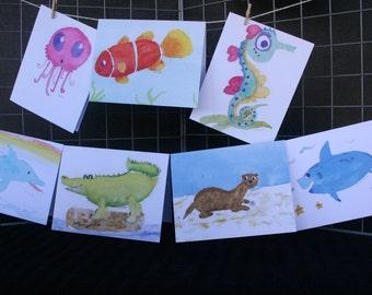 Undersea Creatures Watercolor Note Cards (age 9)