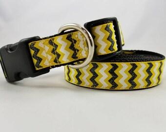 Yellow, White, and Black Glitter Chevron - Fashion Dog Collars