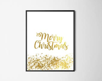 Last Minute Printable Art, Christmas Gift Wall Art Print, Xmas Decor, Gold Sprinkles, Celebration, Party, Merry Christmas