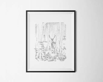 The deer in the Woods - print