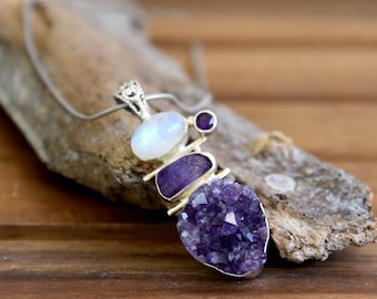 Moonstone and Amethyst Pendant