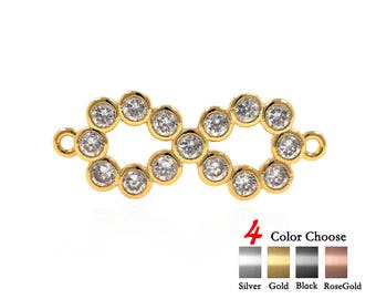 Infinity Charm Connector Pave Clear CZ for Women Jewelry Making Findings 23x9mm 2Pcs