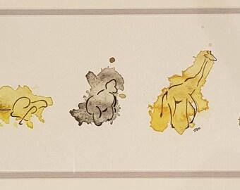 Original Line Drawing Watercolour Safari in Frame