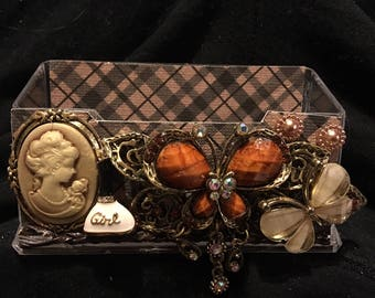 Womens Cameo & Butterflies business card holder, display stand