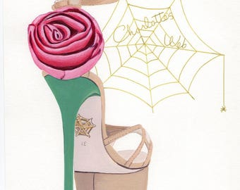 Charlotte Olympia beige green pink rose Fashion Stiletto Shoe Original Painting  10 x 8 inches,
