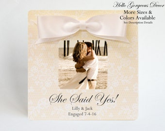 Engagement Gift to Couples PICTURE FRAME Personalized She Said Yes! Custom Photo Frame