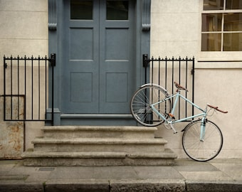 London Photography, Blue Bicycle, Door, Architecture, Travel Photography, Fine Art Print, Wall Art, Blue Door, Home Decor, Matted Print