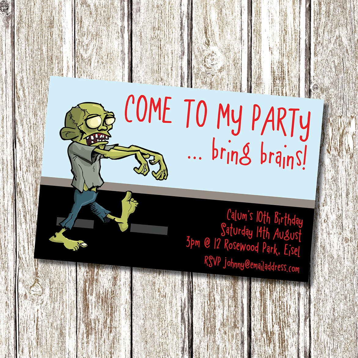 Zombie birthday party invitation printable and personalised zoom kristyandbryce Choice Image
