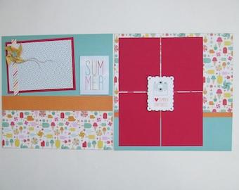Summer Snapshots Premade or DIY Kit,12x12 Scrapbook Layout, Scrapbook Page Kit, Project Life, Filofax