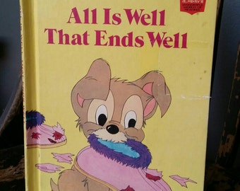 "Walt Disney's Wonderful World of Reading book ""All Is Well That Ends Well""/First American Edition/Lady and Tramp/Vintage 1979/Nursery Decor"