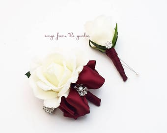 Burgundy and White with Rhinestones Real Touch Rose Wedding Boutonniere Wedding Corsage Mother of the Bride Father Flowers Prom Corsage