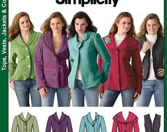ON SALE Misses' Misses Jacket and Vest Sewing Pattern Simplicity 4032 Size 8-16 Bust 31.5-38 UNCUT