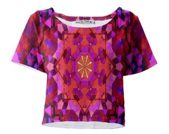 Rose Mandala Crop Tee 3d Psychedelic design mandala art UV Black Light Techno T-shirt!