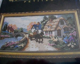 Village Serene Counted Cross Stitch Kit: Comes with Fabric, Floss & Directions