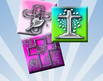 CROSSES - Digital Collage Sheet - 1 inch square images for pendants, earrings, magnets, scrap-booking. Instant Download #222.