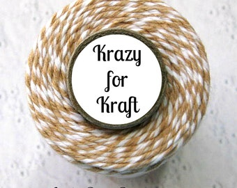 Kraft Trendy Bakers Twine - Krazy for Kraft (Tan, Flax, White) - Gift Wrap, Packaging, Craft Twine, Crafting, Favors, Treats,