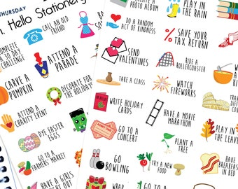 Yearly Bucket List  - Planner Stickers for Erin Condren Life Planners - D2
