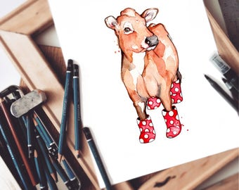 Jersey Cow with Rain Boots |  Watercolor Painting | Original Artwork | Animal Illustration | Cow Portrait | Marie-Eve Arpin |  Handmade |