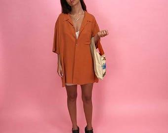 Silk oversized ochre blouse L