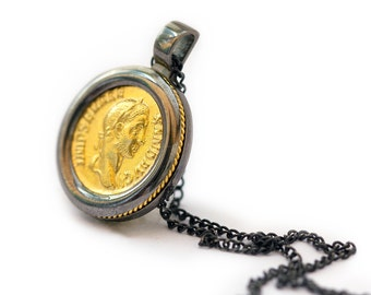 Mens Necklace - Mens Jewelry - coin pendant -black jewelry-sterling silver necklace-large coin necklace-Alexander, yellow gold plated silver